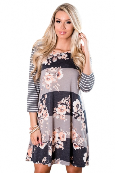 Stripes and Floral Long Sleeve A-Line Tunic Dress ZEKELA.com