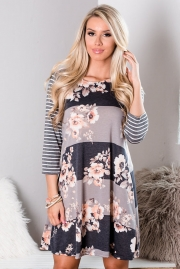 Stripes and Floral Long Sleeve A-Line Tunic Dress