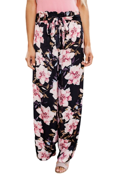 Black Pink Floral Satin Wide Leg Pants