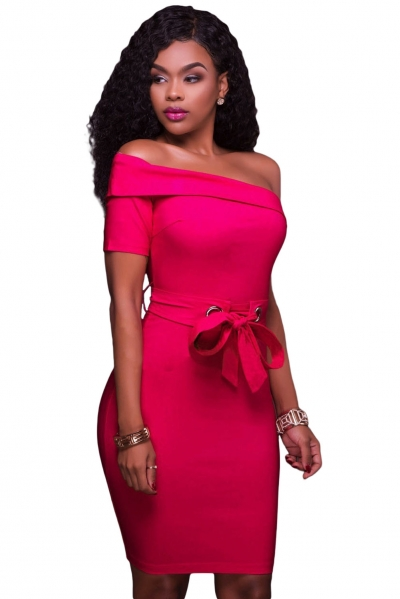 Rosy Club Party One Shoulder Bodycon Dress