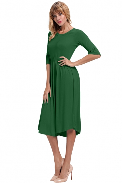 Green Ruffle Sleeve Midi Jersey Dress