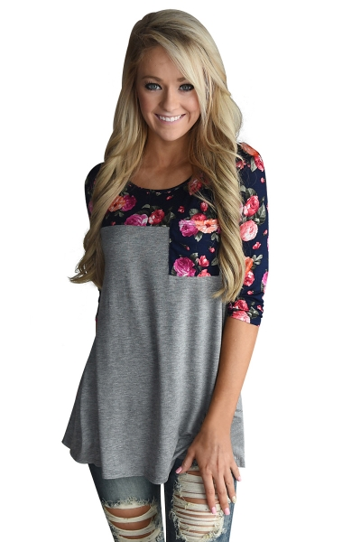 Floral Printed Gray Womens Top