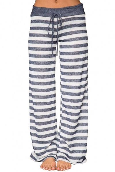 Charcoal White Stripes Terry Wide Leg Pants