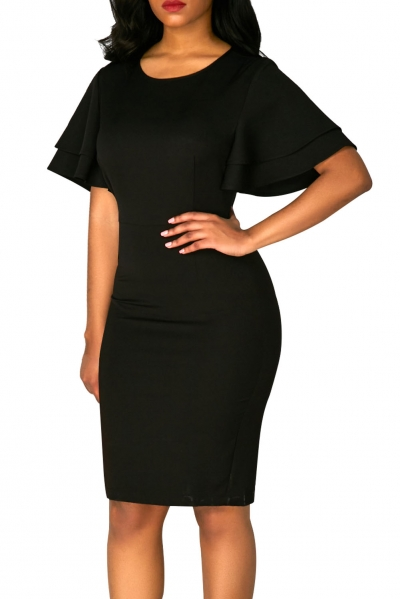 Black Flare Sleeve Back Slit Sheath Dress