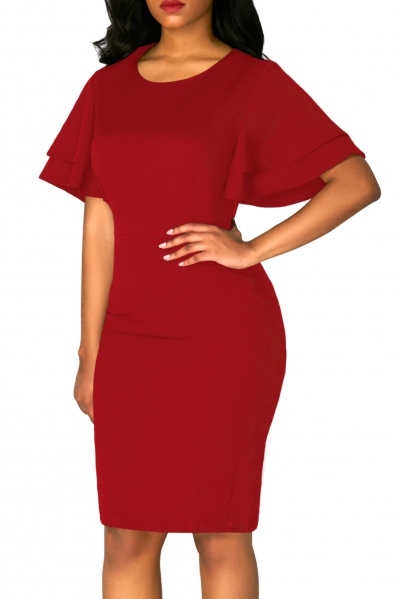 Red Flare Sleeve Back Slit Sheath Dress