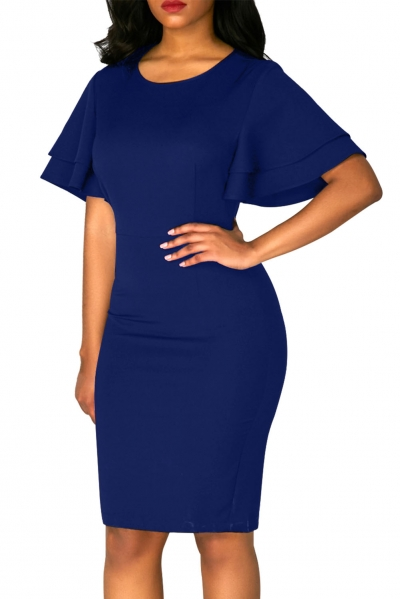 Royal Blue Flare Sleeve Back Slit Sheath Dress