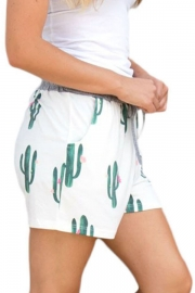 Blooming Cactus Print White Casual Shorts