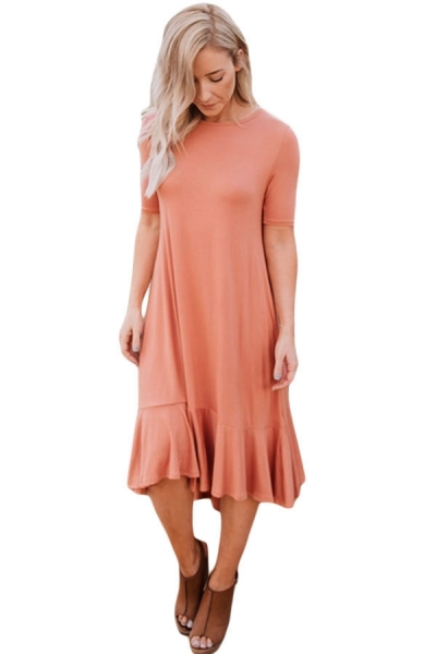 Coral Flowy Ruffles Short Sleeve Casual Dress