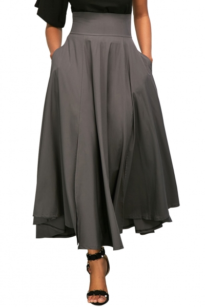Gray Retro High Waist Pleated Belted Maxi Skirt