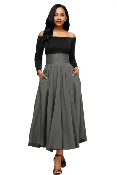 Gray Retro High Waist Pleated Belted Maxi Skirt zekela.com