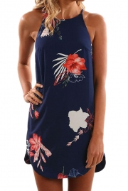Blooming Red Flower Print Navy Sleeveless Dress