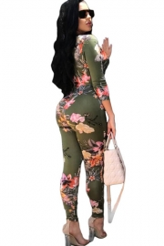 Deep Cut Floral Print Belt Bodycon Jumpsuit