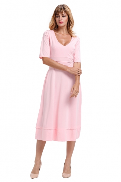 Pink Half Sleeve V Neck High Waist Flared Dress