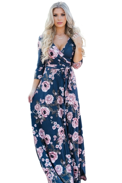 Navy Blue Blooming Flower Print Wrap V Neck Boho Dress
