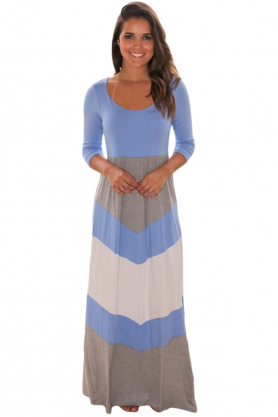 Blue and Gray Chevron Maxi Dress ZEKELA.com