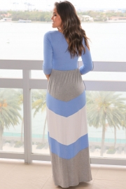 Blue and Gray Chevron Maxi Dress