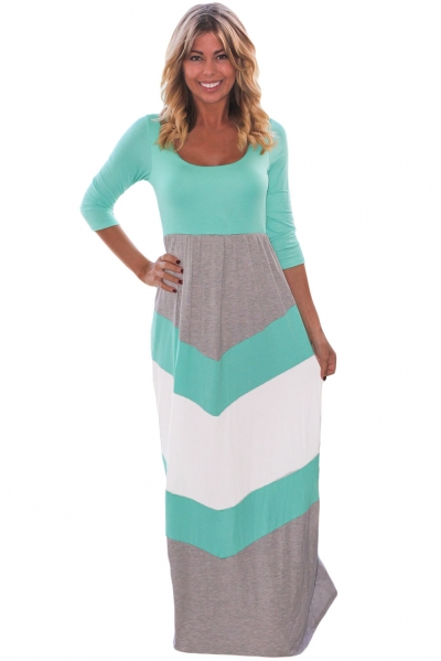 Mint and Gray Chevron Maxi Dress ZEKELA.com