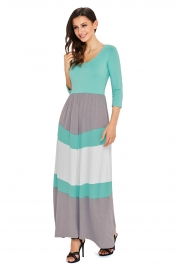 Mint and Gray Chevron Maxi Dress