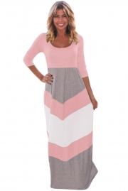 Pink and Gray Chevron Maxi Dress