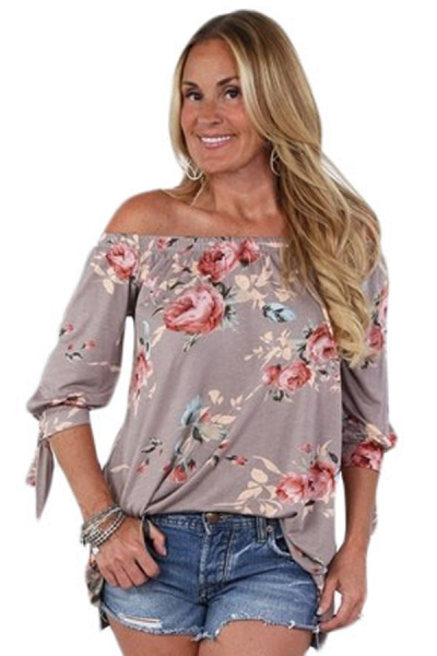 Khaki Floral Elastic Off Shoulder Top