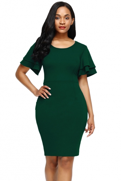 Green Flare Sleeve Back Slit Sheath Dress