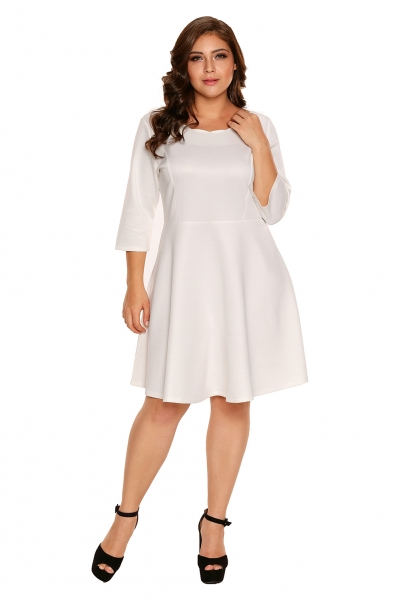 White Scalloped Neckline 3/4 Sleeve Skater Dress