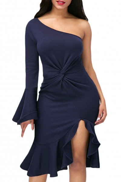 Navy Twist and Ruffle Accent One Shoulder Prom Dress