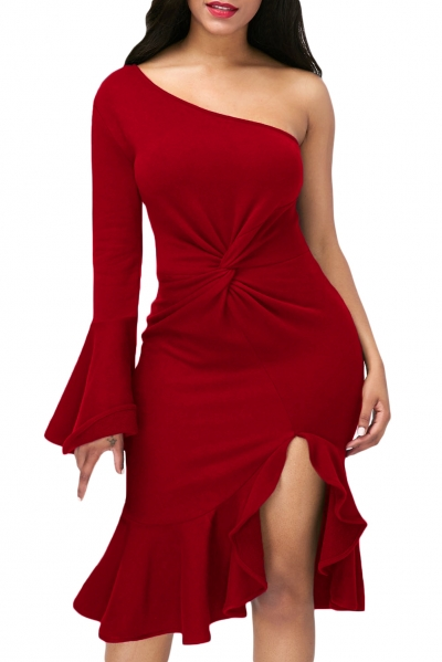 Red Twist and Ruffle Accent One Shoulder Prom Dress