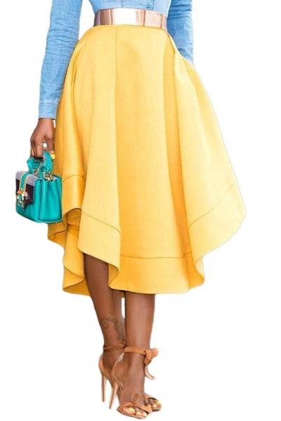Yellow Making Waves High Waist Midi Skirt