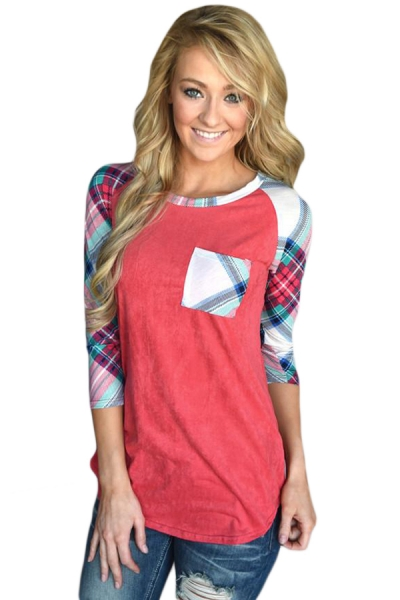 Vibrant Plaid Raglan Sleeve Red Top