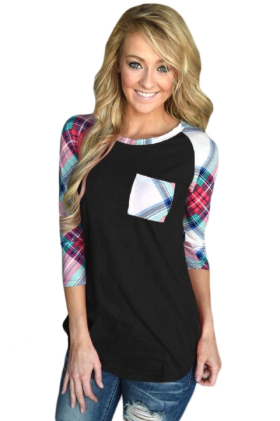 Vibrant Plaid Raglan Sleeve Black Top