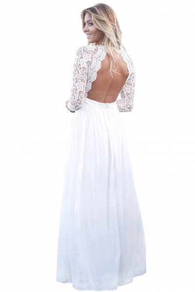 White Open Back Long Sleeve Crochet Maxi Party Dress