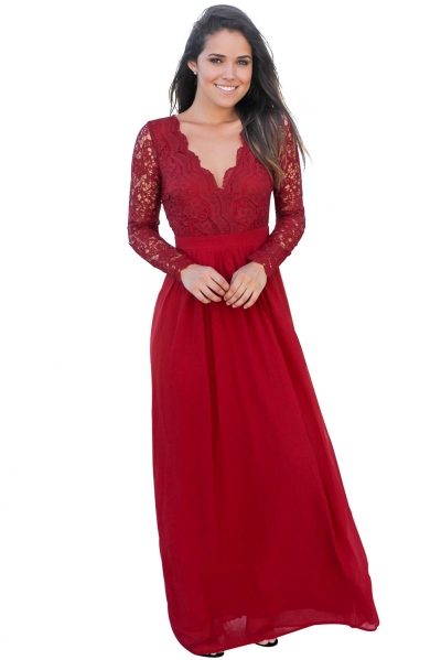Red Open Back Long Sleeve Crochet Maxi Party Dress