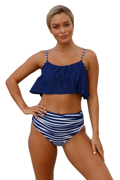 Navy Top and Striped Bottom High Waist Swimwear