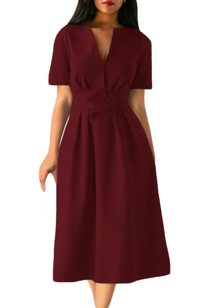 Claret Split Neck Short Sleeve Midi Dress with Bowknots