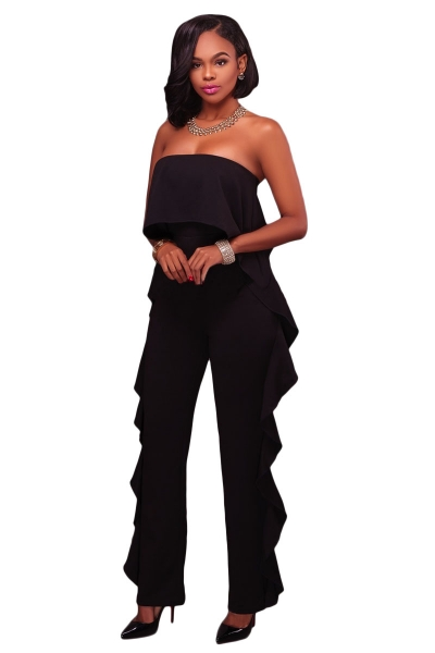 Black Delicate Ruffle Trim Strapless Jumpsuit