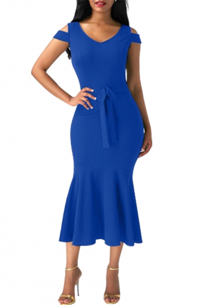 Royal Blue Cold Shoulder Bow Detail Mermaid Dress