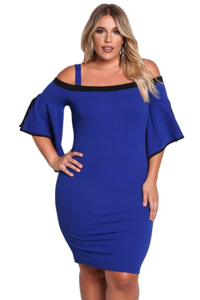Blue Plus Size Cold Shoulder Bell Sleeve Bodycon Dress