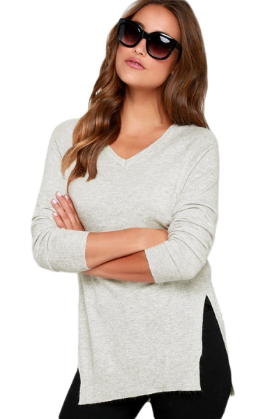 Heather White V Neck Sweater