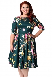 Jasper Vintage Style Floral Half Sleeve Swing Dress