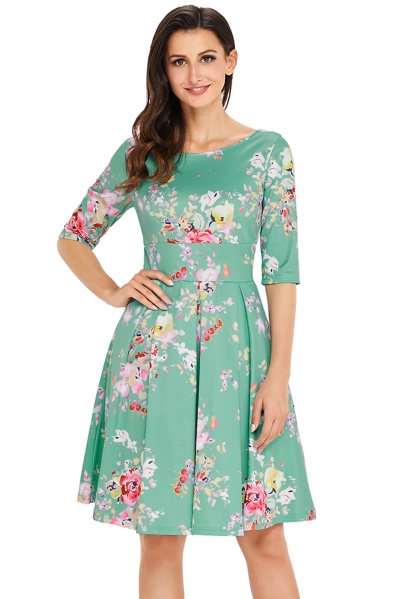 Mint Vintage Style Floral Half Sleeve Swing Dress