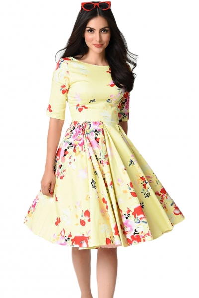 Yellow Vintage Style Floral Half Sleeve Swing Dress