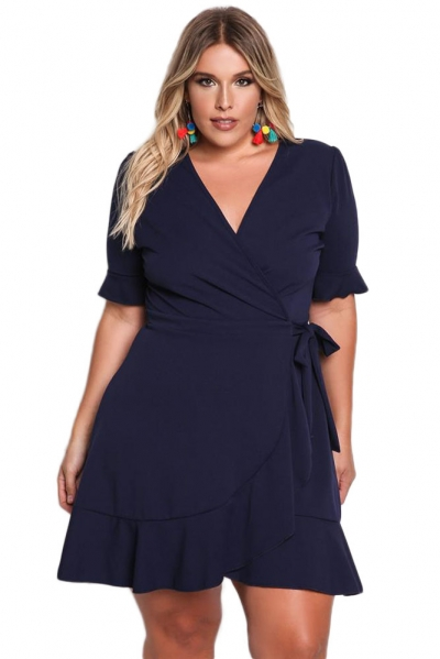 Navy Blue Plus Size Ruffle Surplice Wrap Dress