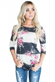 Charcoal White Bold Stripe Pink Floral Shirt