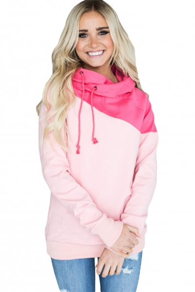 Pink Duotone Chic Hooded Sweatshirt