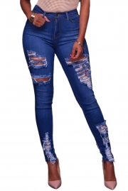 Blue Whiskery Destroyed Skinny Jeans