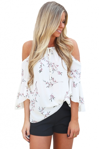 White Cold Shoulder Spring Blossoms Top