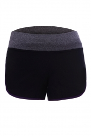 Purple Piping Trim Wide Waistband Gym Shorts