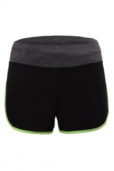 Flourescent Green Piping Trim Wide Waistband Gym Shorts