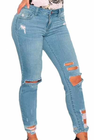 Light Blue Denim Destroyed Ankle Length Skinny Jeans